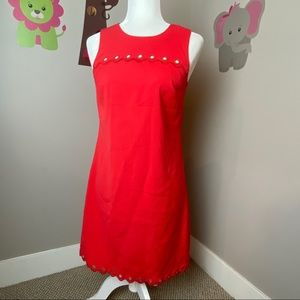 J CREW RED SCALLOP CIRCLE COCKTAIL DRESS